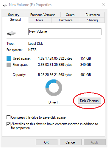 click on disk cleanup
