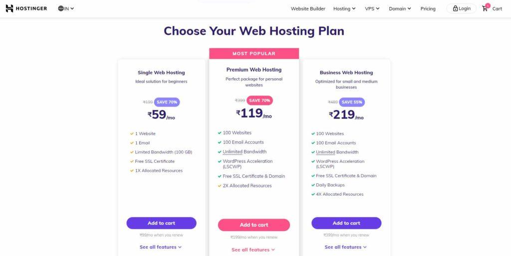 hostinger plans in india