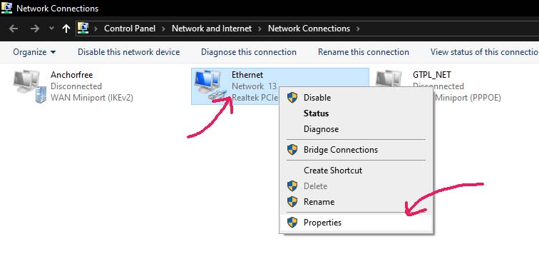 Ethernet settings for ip